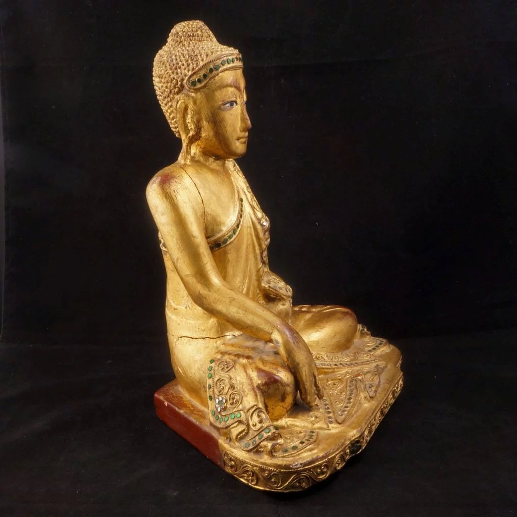 Thai Carved And Gilded Seated Buddha Statue With Glass