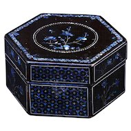 Vintage Chinese six sided lac burgaute lacquer lidded box with mother of pearl design
