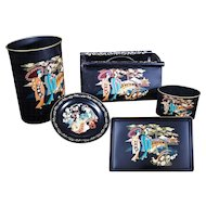 "Vintage 1960s Toleware Metal Paint by Number 5 piece set with ""Oriental"" Japanese designs"