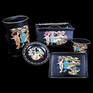 "Vintage 1960s Toleware Metal Paint by Number 5 piece set with ""Oriental"" Japanese designs"