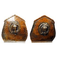 Beaten Copper Drumgold Horse head Arts and Crafts Bookends circa 1940