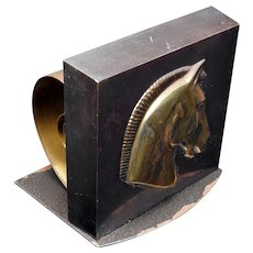 Single Coiled Horse Bookend/Book Holder with Gold Tone Patina Mid-Century