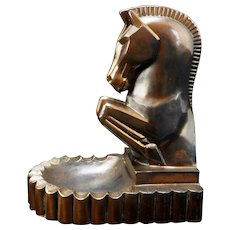 Deco Rearing Horse with Ashtray Bookend by Champion Products LA California circa 1940