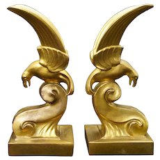 Perched Eagle Art Deco Bookends Circa 1934