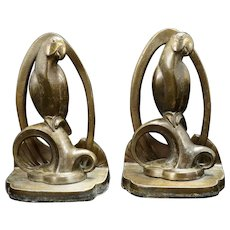 Deco Frankart Parrot Perch Bronze Patina Bookends Circa 1934