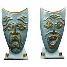 Mid Century Tragedy and Comedy Theatrical Collapsible Israeli Bookends 1960's