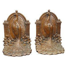 Proud Peacock Weidlich Brothers Bookends Circa 1925
