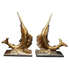 Midcentury Pair Sailfish Bookends PM Craftsman Circa 1965
