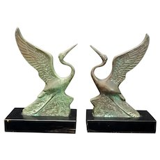Vintage Deco-Style Flying Crane Bookends Circa 1950