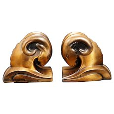 Art Deco Copper Patina Ram Bookends circa 1930