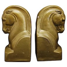 Pair of Deco Plaster Horsehead Bookends Circa 1940
