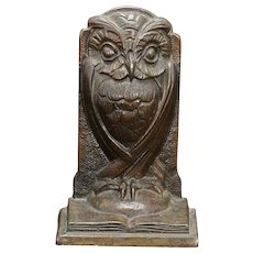 Owl Bronze-Clad Single Bron Met Bookend Circa 1925