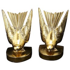 Vintage Art Deco Swallow Jennings Brothers Bookends -544 - circa 1930