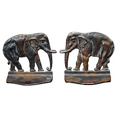 Heavy Bronze Elephant Bookends Circa 1920