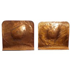 Arts and Crafts Beaten Copper Ship Bookends Circa 1920