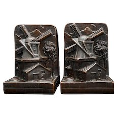 Pair Copper Clad Art Craft Products Bronze Windmill Bookends Circa 1920