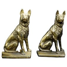 Mid-century German Shepherd Cast Iron Bookends Circa 1950