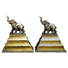 Bronze Elephant on Pedestal Bookends Gold Patina Circa 1940