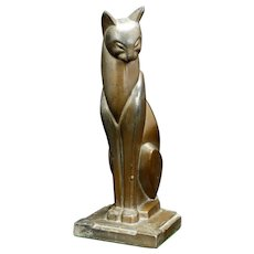 Art Deco Bronzart Siamese Cat Bookend or doorstop Circa 1935