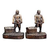 Pirate Copper Clad Bookends Mid-Century 1940's or 50's