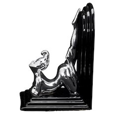 Vintage Art Deco Revival Style Nude Bookend with Chrome Finish
