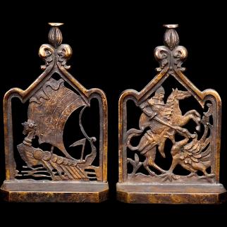 Pair Bronze Bookends Viking Ship & Saint George Circa 1920's