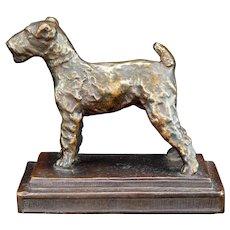 Fox Terrier Armor Bronze Bookend 1920's