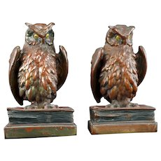 Pair of Pompeian Bronze-clad Owl on Books Bookends Circa 1925