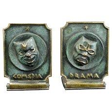 Pair Mid Century Comedy and Drama Israeli Dayagi Brothers Bronze Bookends Circa 1960