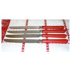 Cherry Red Bakelite Set of Four Knives
