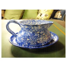 Blue Stangl Town & Country Gravy Boat & Under Plate