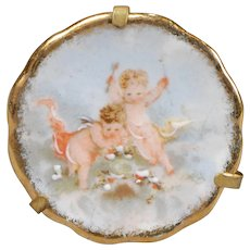 Limoges Cherub-decorated Plate for Dollhouse