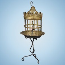 German Brass and Tin Birdcage on Stand