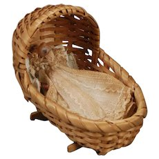 Woven Reed Cradle for Dollhouse