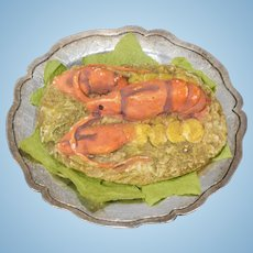 Dollhouse Lobster on Silver-toned Platter