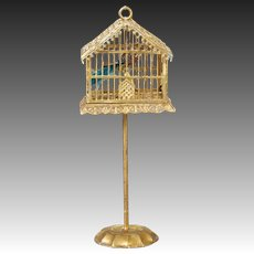 German Soft Metal Birdcage with Original Base