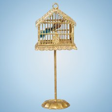 German Soft Metal Birdcage with Original Base