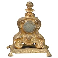 Cast Metal Dollhouse Mantle Clock in the Rococo Taste