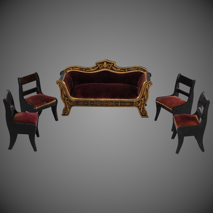 Biedermeier Sofa Set in Burgundy Velvet,