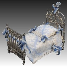 Cast White Metal Dollhouse Bed