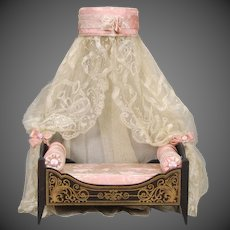 Biedermeier Dollhouse Bed with Coronet