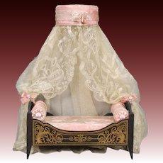 Biedermeier Dollhouse Bed with Coronet