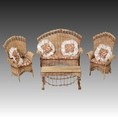 Artist-created Four-piece Suite of American Wicker Furniture