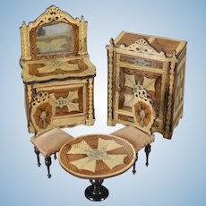 German Lithographed Paper on Wood Five-piece Lot of Dollhouse Furniture
