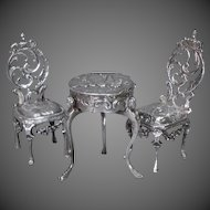 Three-piece Suite of Miniature Silver Furniture