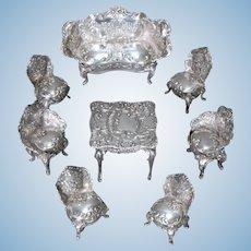 Eight-piece Suite of Miniature Silver Furniture