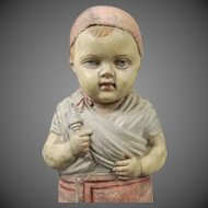 Early French Red Rubber Molded Doll