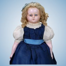 German Wax-over Papier-mache Doll