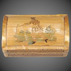 Early Straw Marquetry Dome-top Box