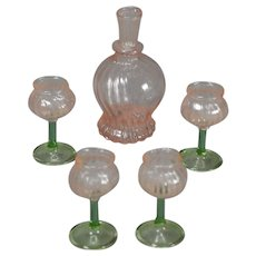 Decanter and Four Matching Glasses for Fashion Doll